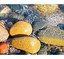 Yellow Rocks on Shoreline Photographic Print