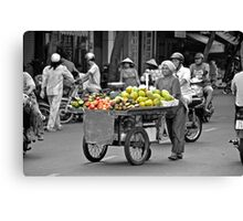 Fruit cart in Ho Chi Minh City Canvas Print