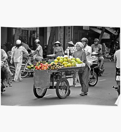Fruit cart in Ho Chi Minh City Poster