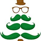 Mr Merry Christmas Mustache Tree #01 by Silvia Neto