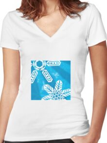 Snowflakes 1 Women's Fitted V-Neck T-Shirt