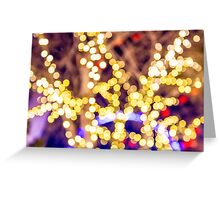 Abstract defocused colour lights in a dark black night Greeting Card