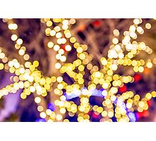Abstract defocused colour lights in a dark black night Photographic Print