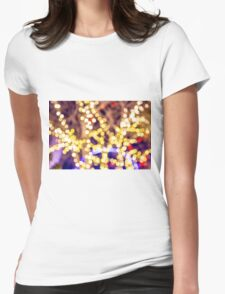 Abstract defocused colour lights in a dark black night Womens Fitted T-Shirt