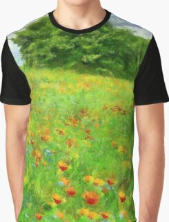 Hillside With Flowers And Trees Graphic T-Shirt