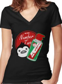 Penguin's Number Two Bug Spray Women's Fitted V-Neck T-Shirt