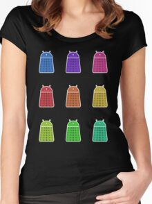 Rainbow Android Daleks Women's Fitted Scoop T-Shirt