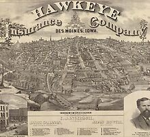 Vintage Pictorial Map of Des Moines Iowa (1875) by BravuraMedia