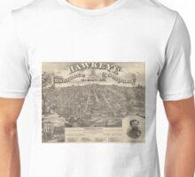 Vintage Pictorial Map of Des Moines Iowa (1875) Unisex T-Shirt