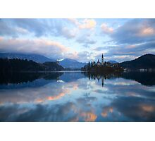 Dusk over Lake Bled Photographic Print