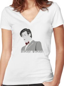 Humany Wumany Women's Fitted V-Neck T-Shirt