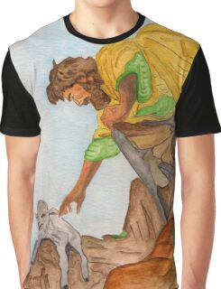 Jesus Rescues the Lost Sheep Graphic T-Shirt