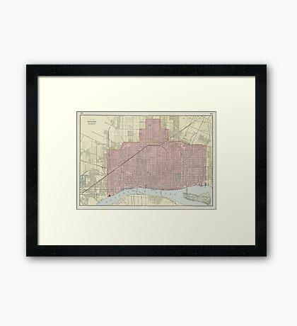Vintage Map of Detroit Michigan (1901) Framed Print