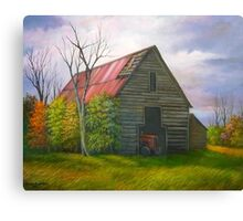Red Roofed Barn in Georgia, Hwy 53 Canvas Print