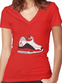 Fire Red 3's Women's Fitted V-Neck T-Shirt