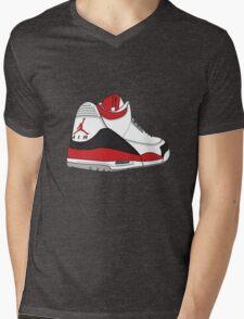 Fire Red 3's Mens V-Neck T-Shirt