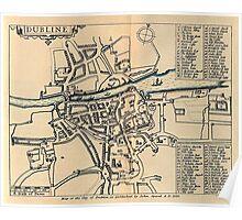 Vintage Map of Dublin Ireland (1610) Poster
