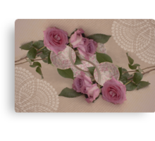 Roses And Tea Cup Beauty Times Two Canvas Print
