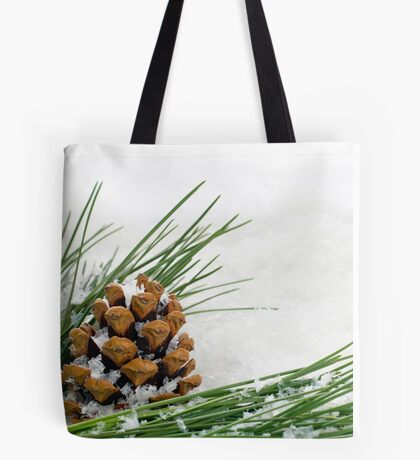 Fir Cone and Branch with Snow Flakes Tote Bag