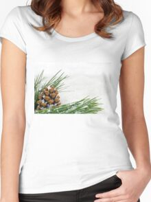 Fir Cone and Branch with Snow Flakes Women's Fitted Scoop T-Shirt