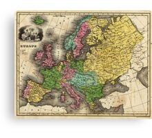 Vintage Map of Europe (1842) Canvas Print