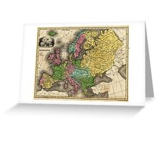 Vintage Map of Europe (1842) Greeting Card