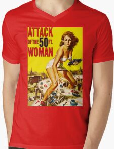 Attack of the 50ft Woman poster Mens V-Neck T-Shirt
