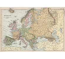 Vintage Map of Europe (1892) Photographic Print
