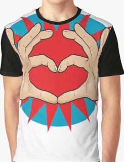 Pop Art Hand Heart Hand Sign Graphic T-Shirt
