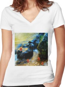 Willow River Falls Women's Fitted V-Neck T-Shirt