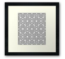 Geometric pattern in white and grey Framed Print