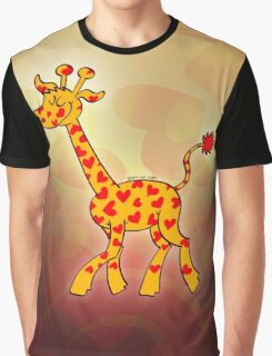 Red Heart Spotted Giraffe Graphic T-Shirt