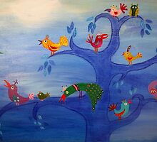 Multicolor Birds and Blue Tree in the Moonlight by Sukilopi