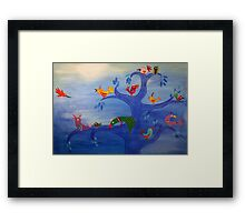 Multicolor Birds and Blue Tree in the Moonlight Framed Print