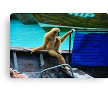 monkey in a boat Canvas Print