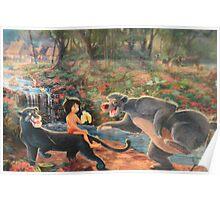 Story Book Jungle Book Animal Characters Baloo Bear Mowgli  Poster