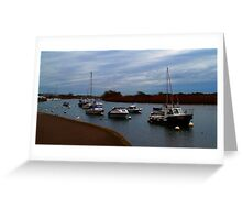 Boats on the river 2 Greeting Card