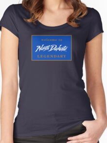 Welcome to North Dakota Legendary Road Sign Women's Fitted Scoop T-Shirt