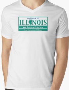 Welcome to Illinois Road Sign Mens V-Neck T-Shirt