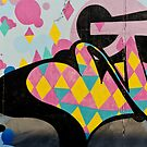 Abstract and Colorful Graffiti on the textured wall by yurix