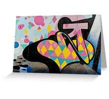 Abstract and Colorful Graffiti on the textured wall Greeting Card