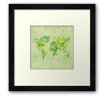 World Green Blue Vintage Framed Print