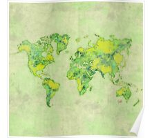 World Green Blue Vintage Poster