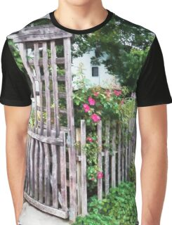 Roses on a Weathered Picket Fence Graphic T-Shirt