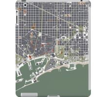 Barcelona city map engraving iPad Case/Skin