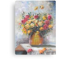 Natureza Morta - Jarro de Rosas -  Óleo sobre tele / Still Life - Pitcher of Roses - oil on canvas Canvas Print