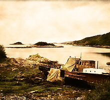 Derelict boat in Outer Hebrides by Jasna