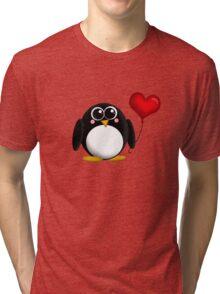 Adorable Penguin Heart Balloon Tri-blend T-Shirt
