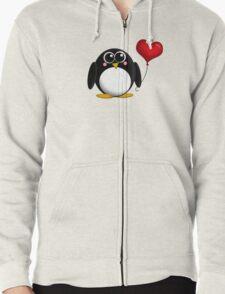 Adorable Penguin Heart Balloon Zipped Hoodie