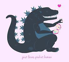 Godzilla Just Loves Pocket Human by Annika Röth